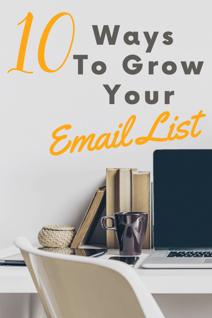 10 ways to grow your email list pin image