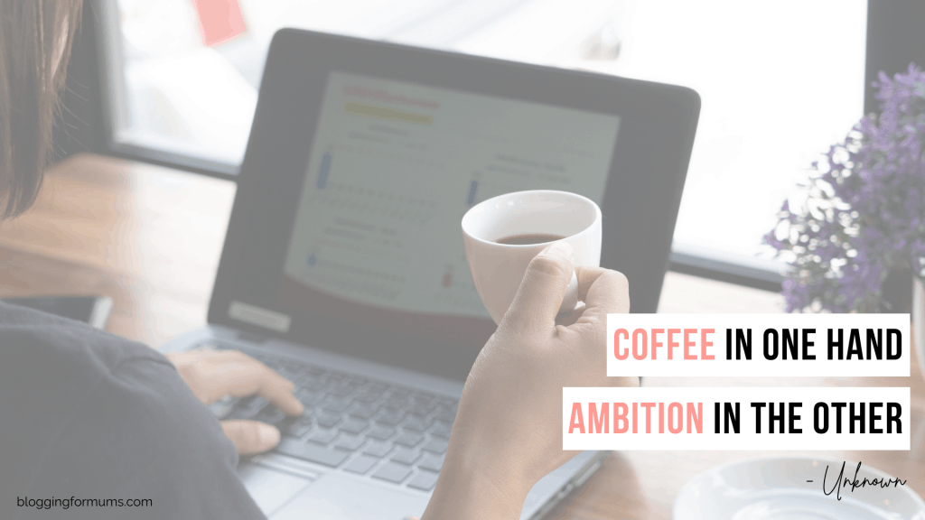 coffee in one hand and ambition in the other