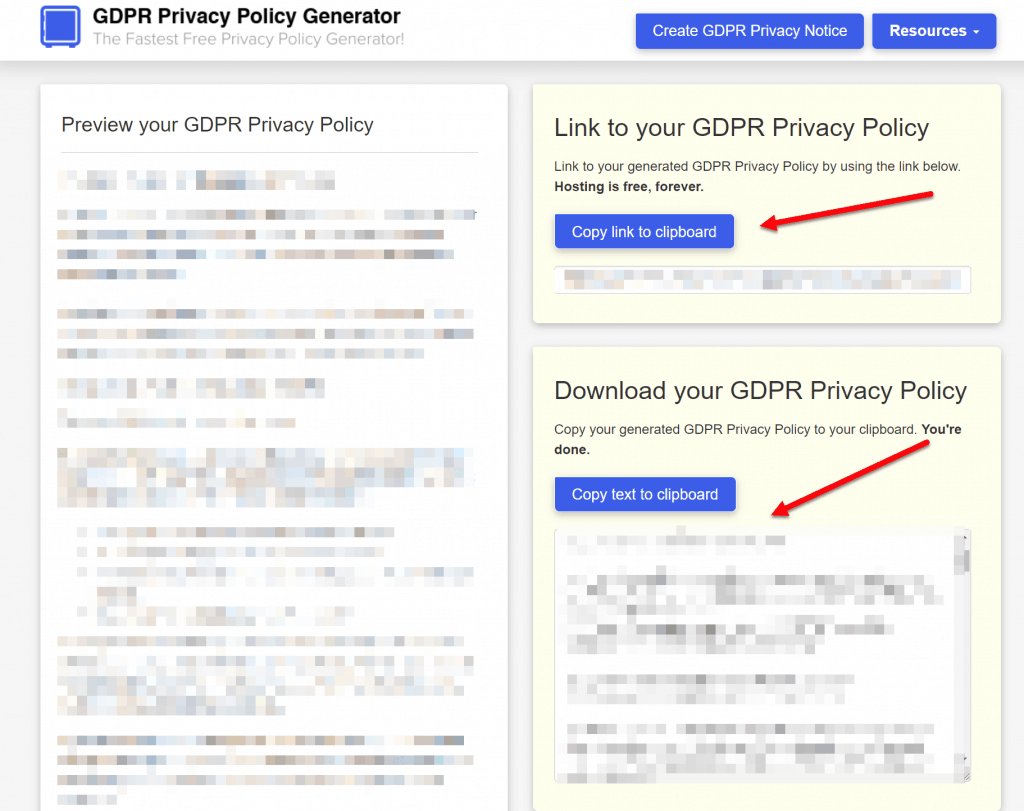 add the privacy policy code or link to your site