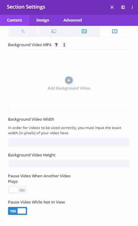 background video options in divi builder