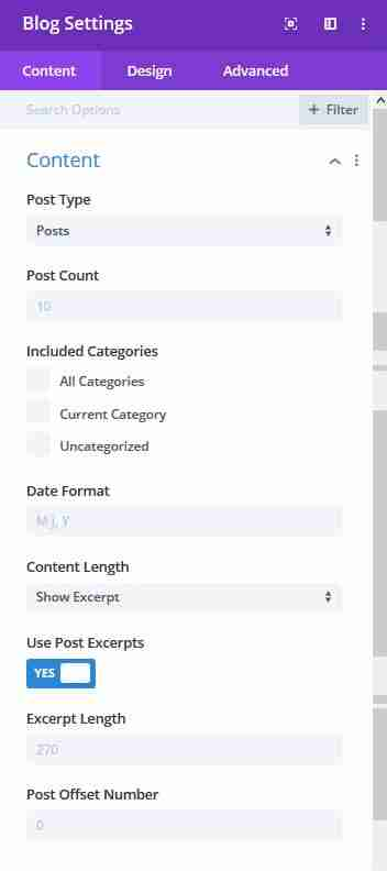 blog module content settings