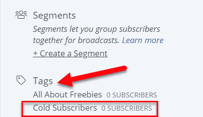 cold subscriber tag in ConvertKit