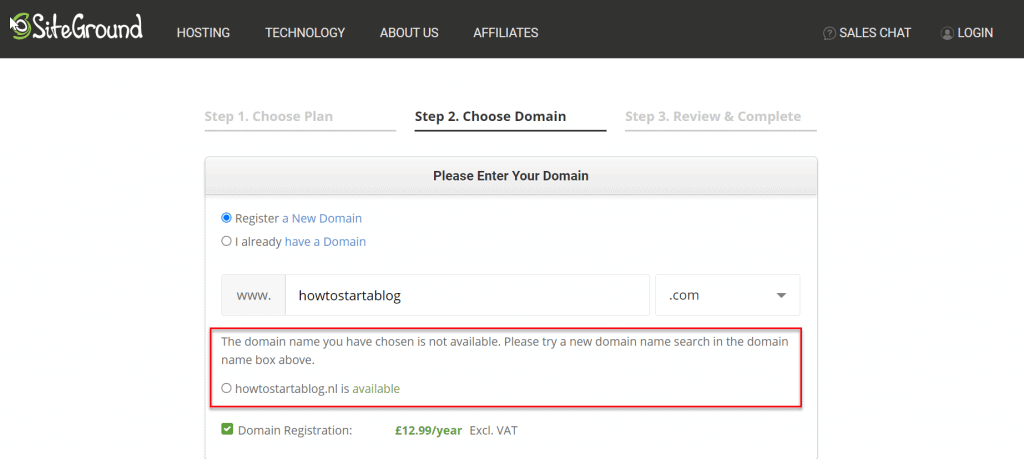 domain name not available