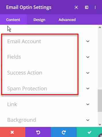 email opt in module content fields options