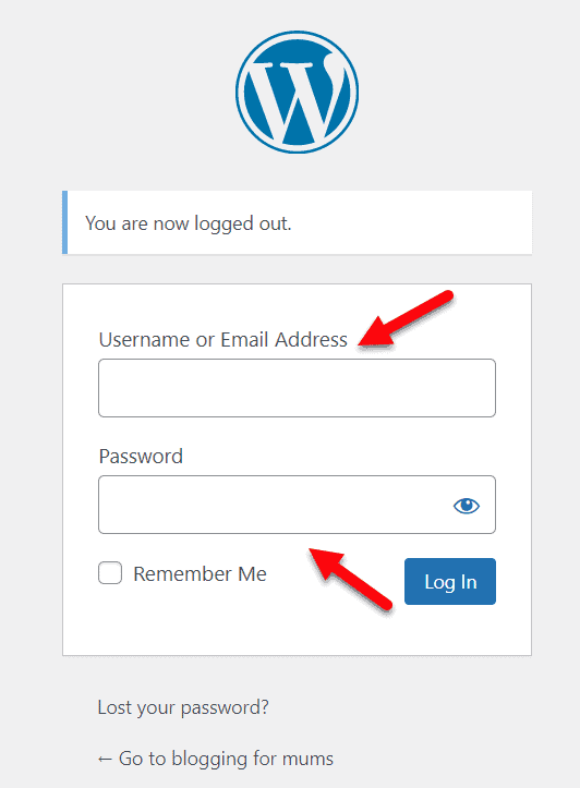 enter email address and password in WordPress admin login screen