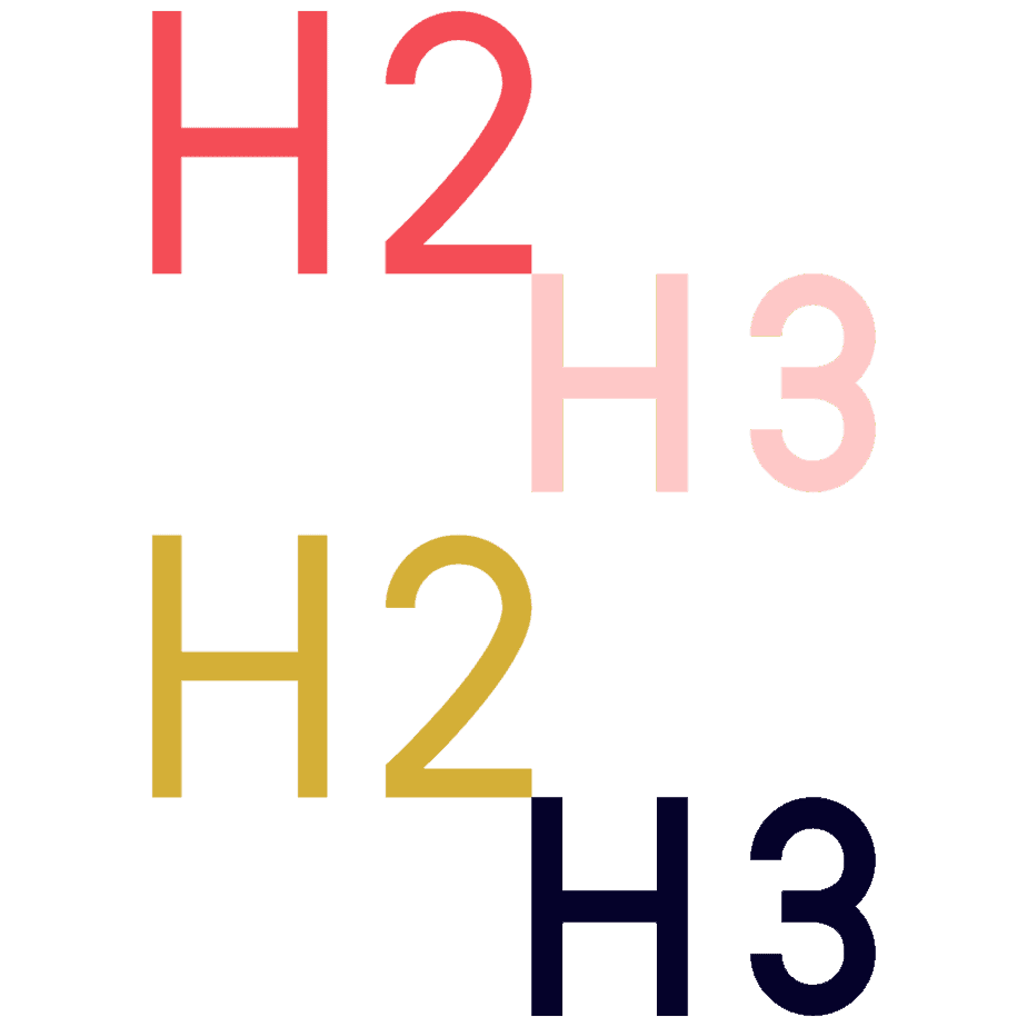 headings H2 and H3 colourful