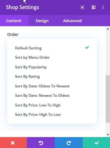 shop module order options