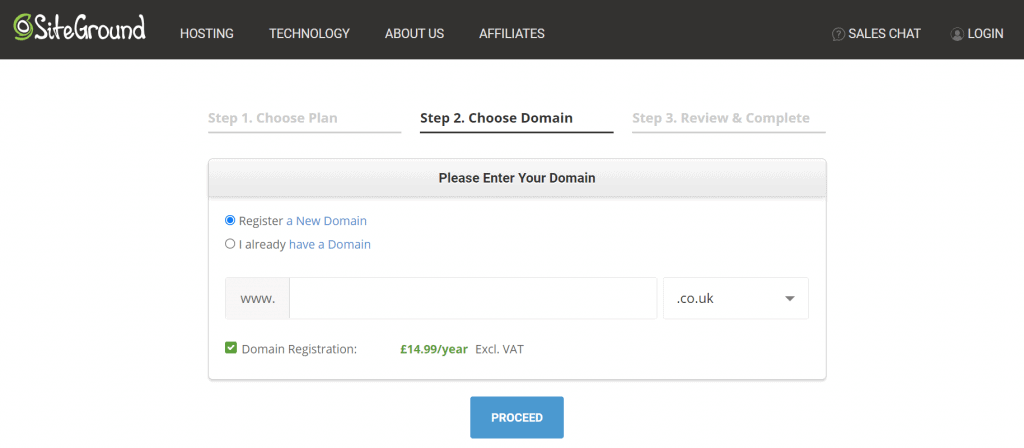 register a new blog domain with SiteGround