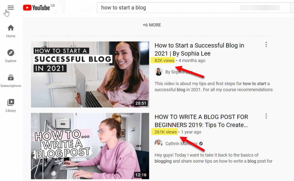 views on how to start a blog youtube search
